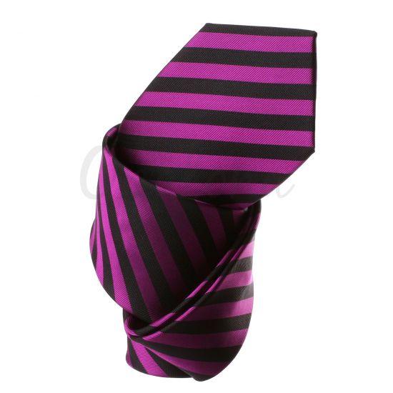 Cravate rayée noir et violet