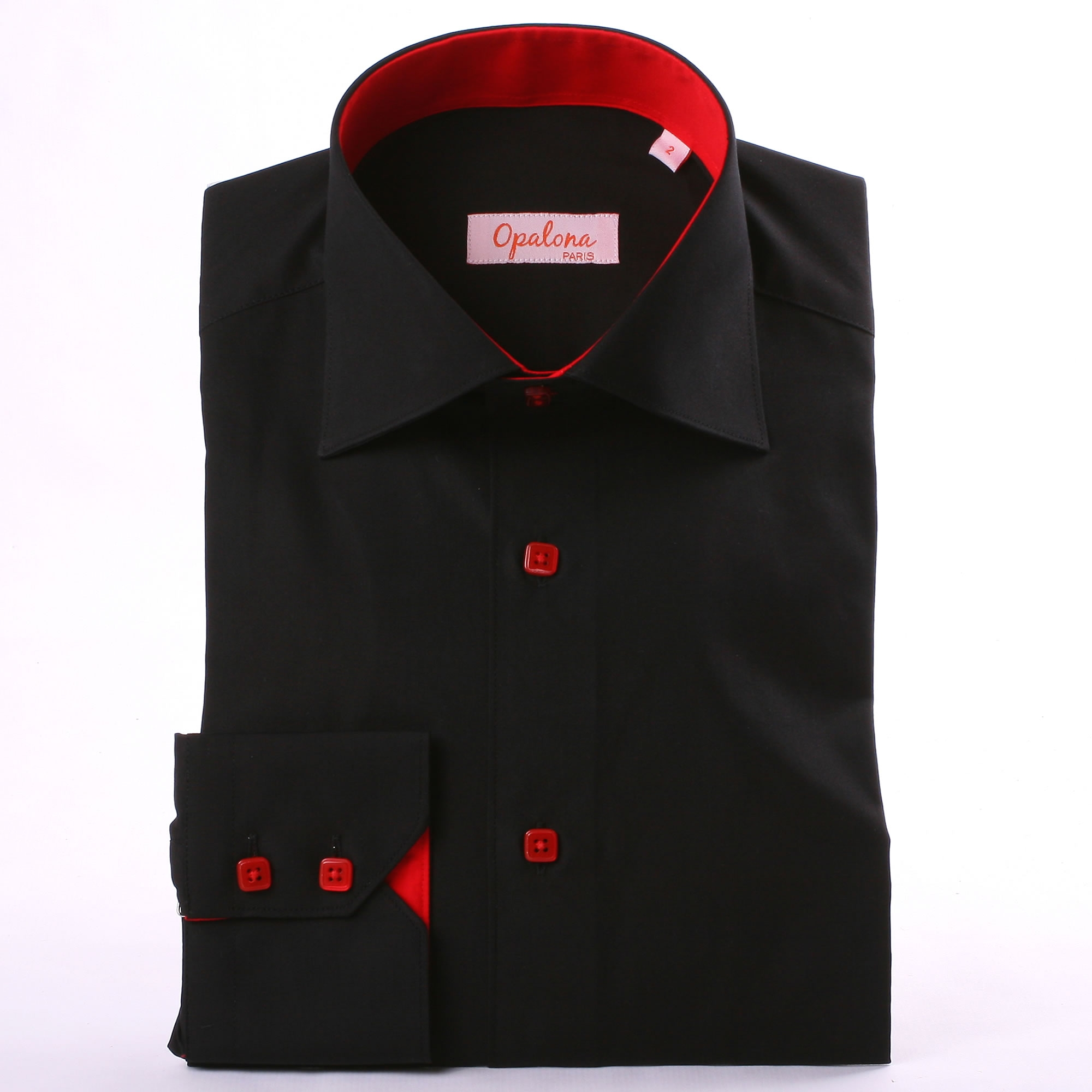 Black shirt with red collar and cuff and red buttons