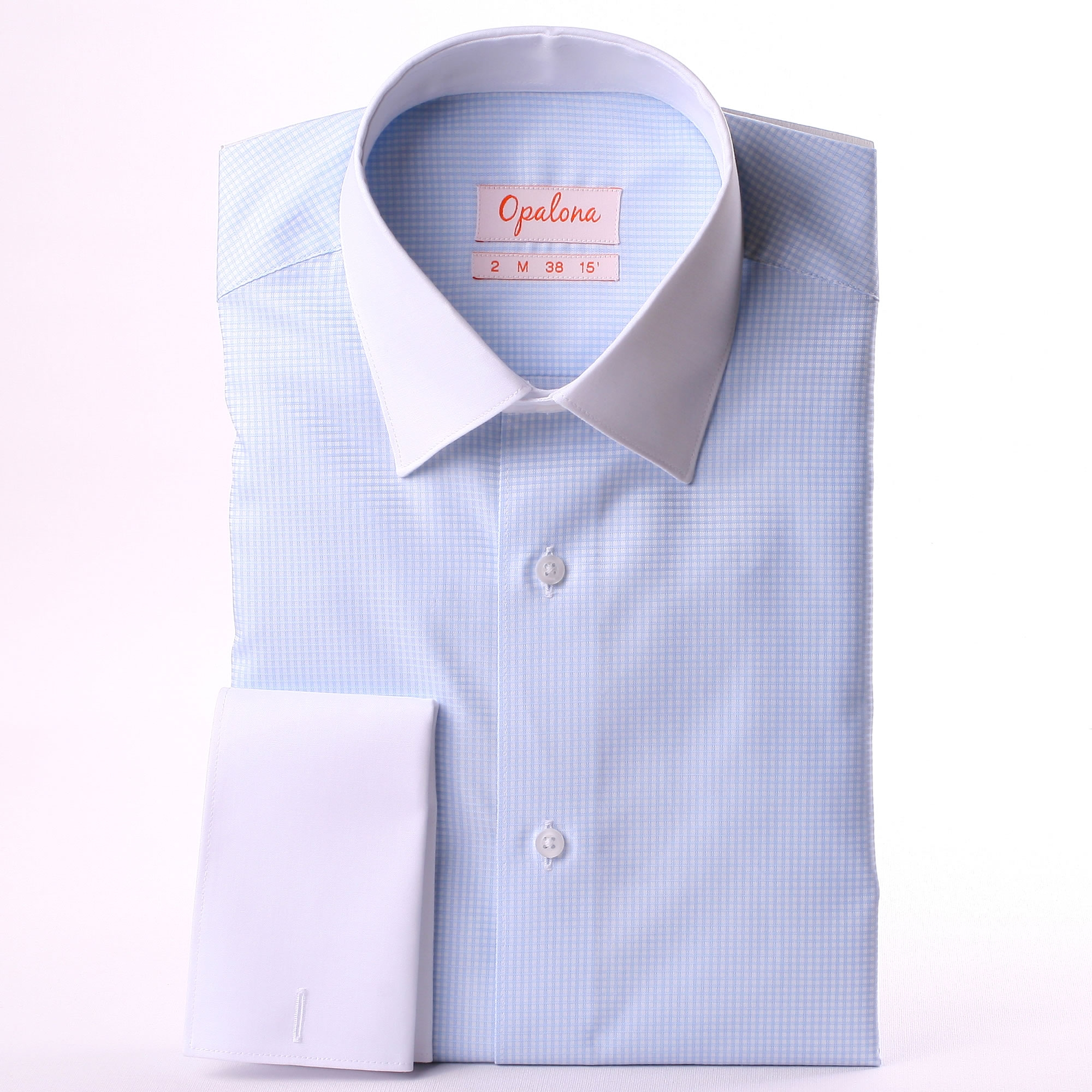 Blue and white checkered french cuff shirt white collar for What is a french cuff shirt