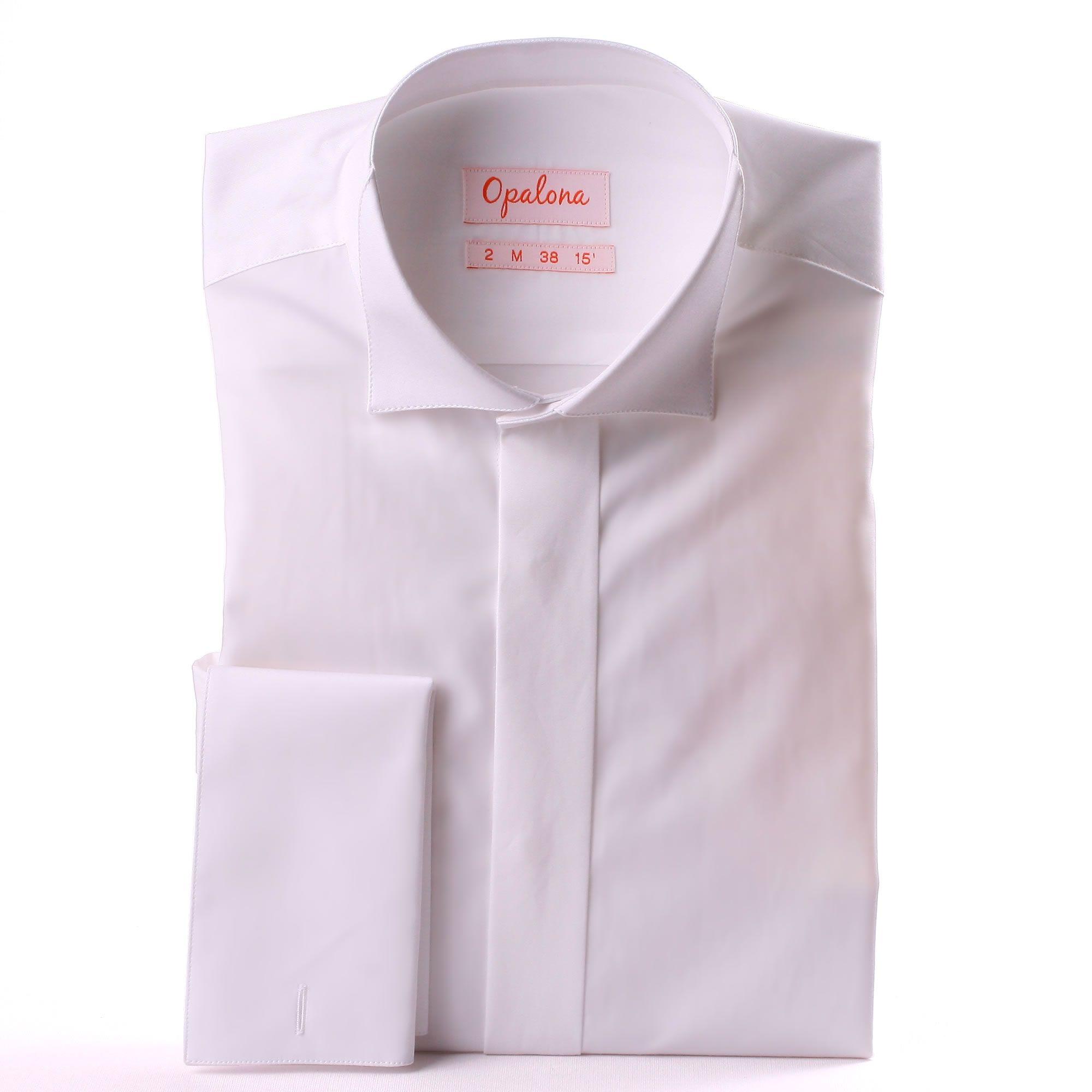 chemise blanche de c r monie poignets mousquetaires col cass et gorge cach e. Black Bedroom Furniture Sets. Home Design Ideas