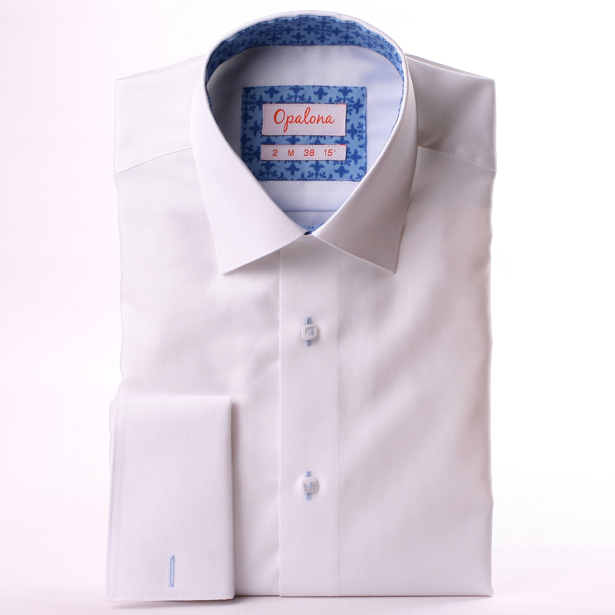 White French Cuff Shirt With Blue Patterns Collar And Cuffs