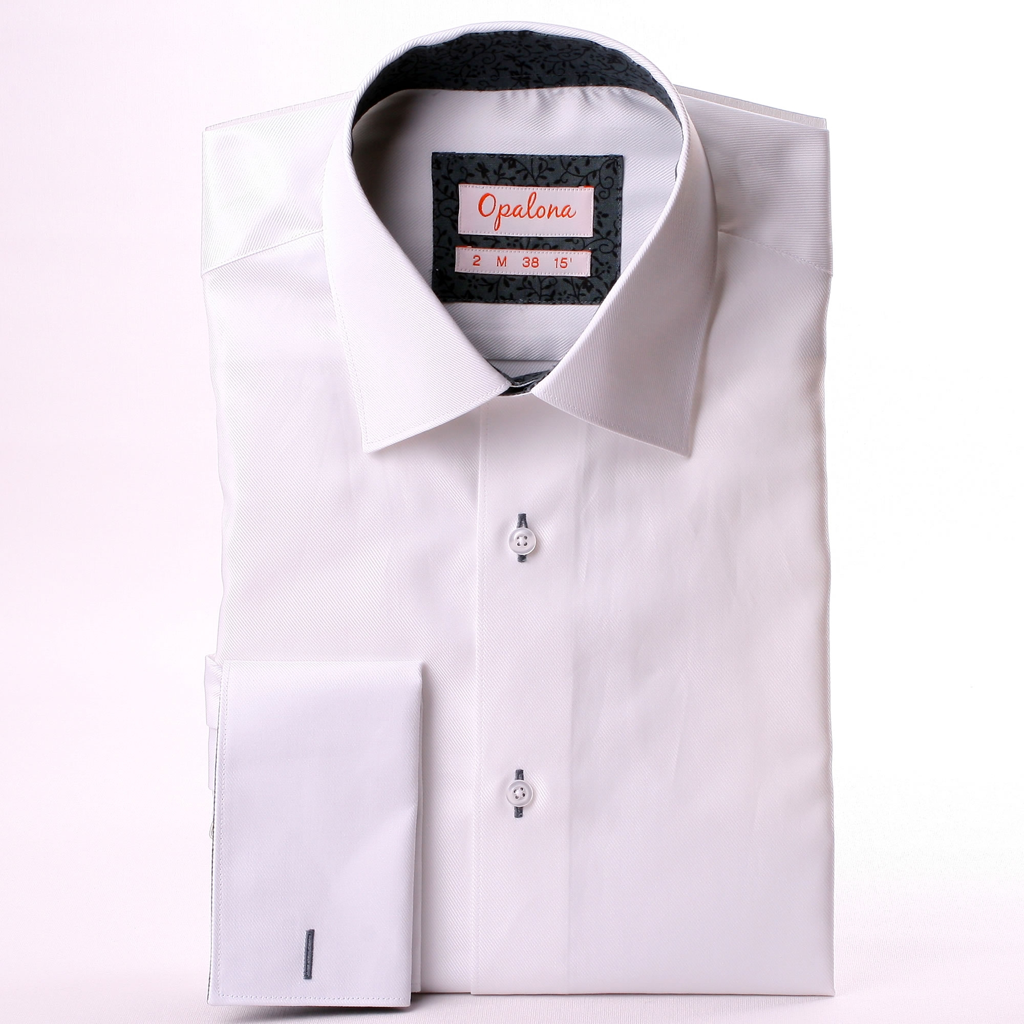 White french cuff shirt with grey patterns collar and cuffs for What is a french cuff shirt