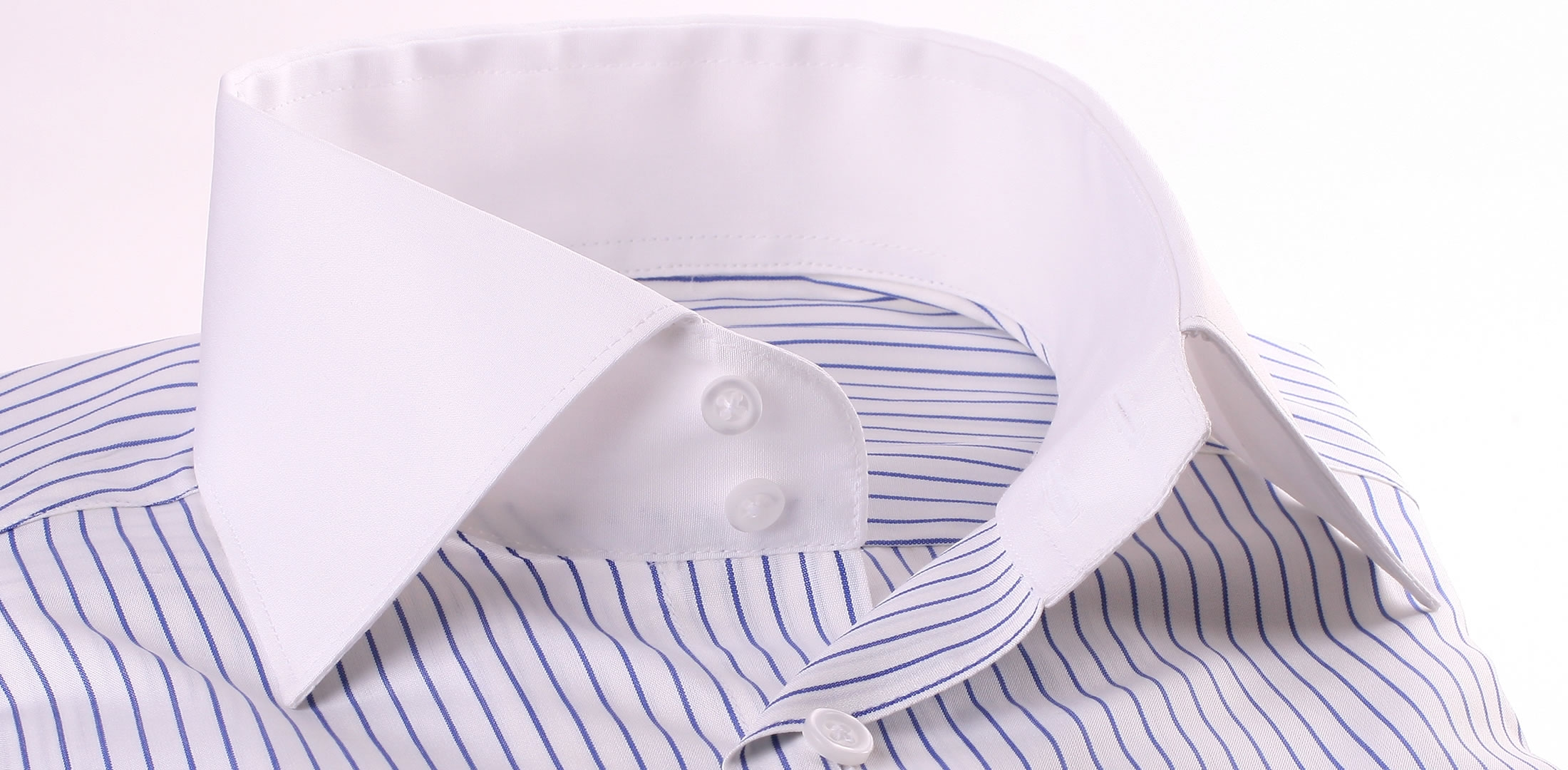 White shirt with navy blue stripes white collar and cuffs for Blue and white striped shirt with white collar