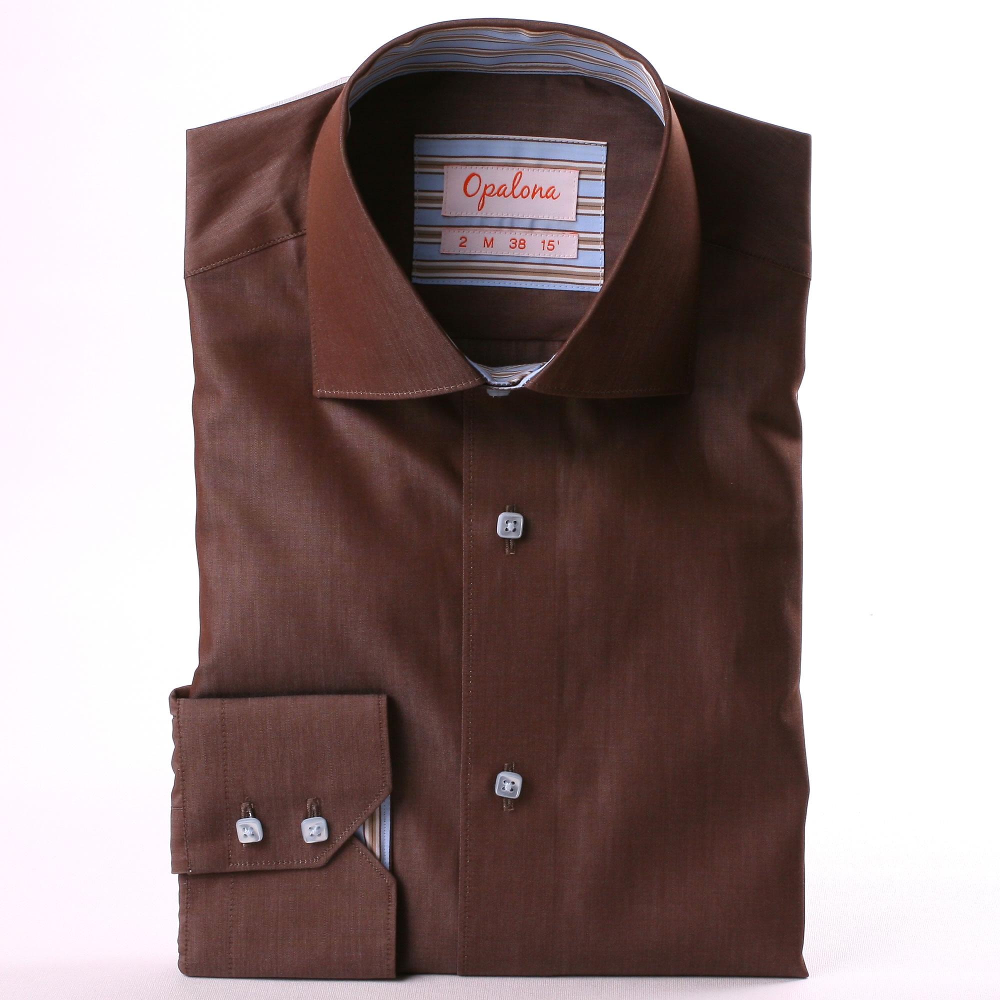 chemise marron col et poignets ray s bleu et marron. Black Bedroom Furniture Sets. Home Design Ideas