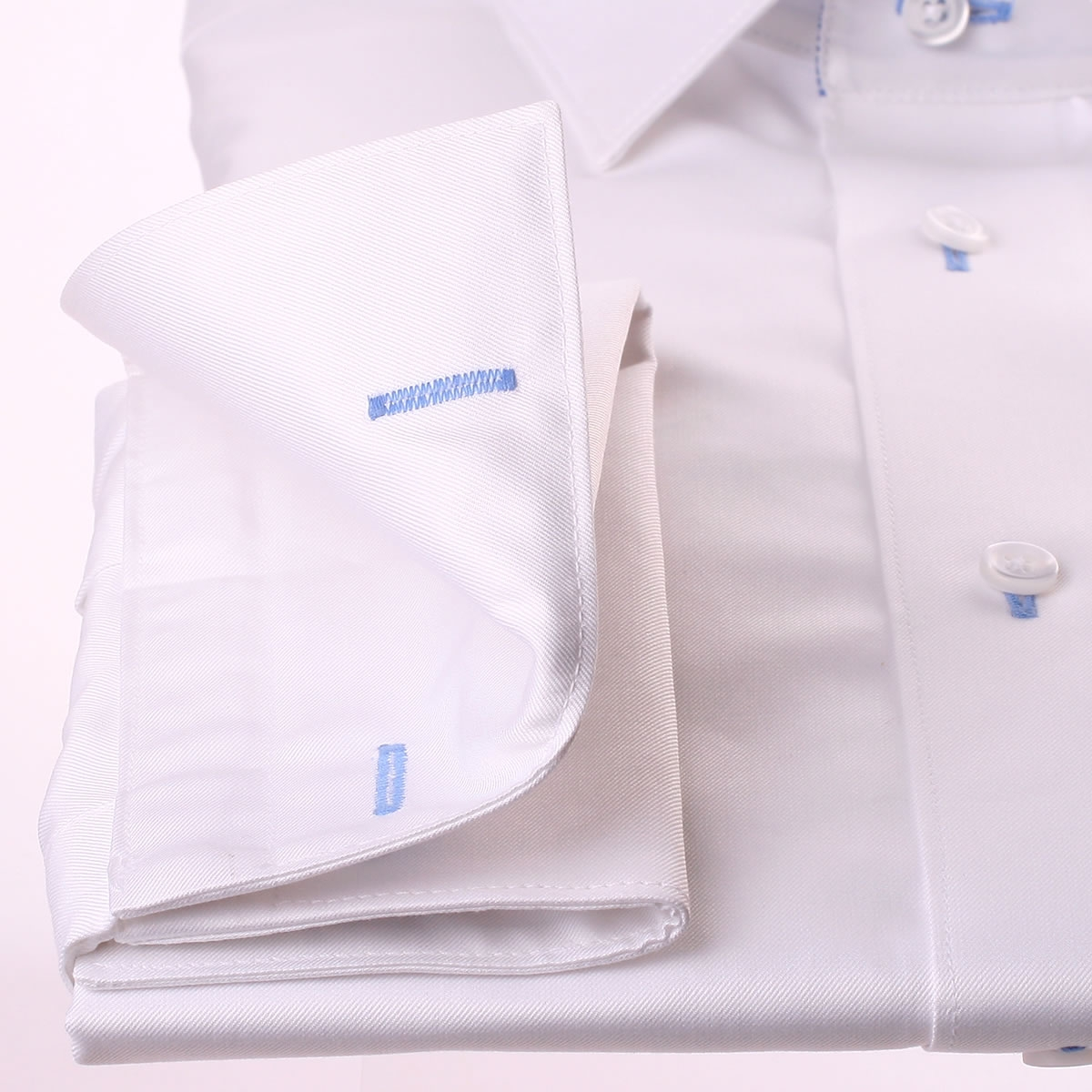 White french cuff shirt with blue striped collar and cuffs for Blue and white striped shirt with white collar