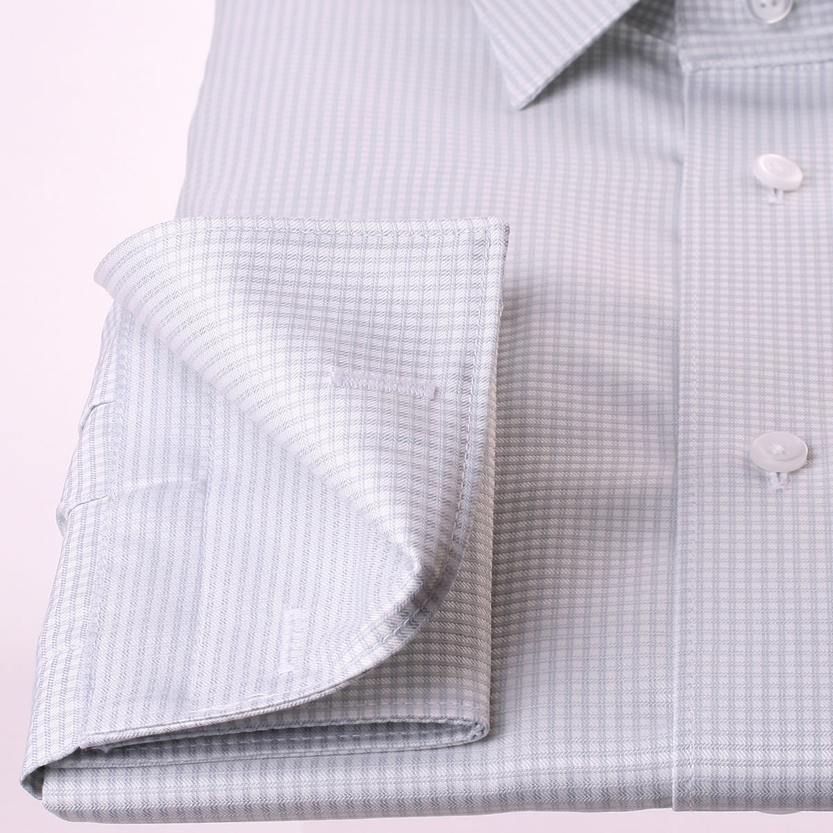 Grey And White Gingham French Cuff Shirt