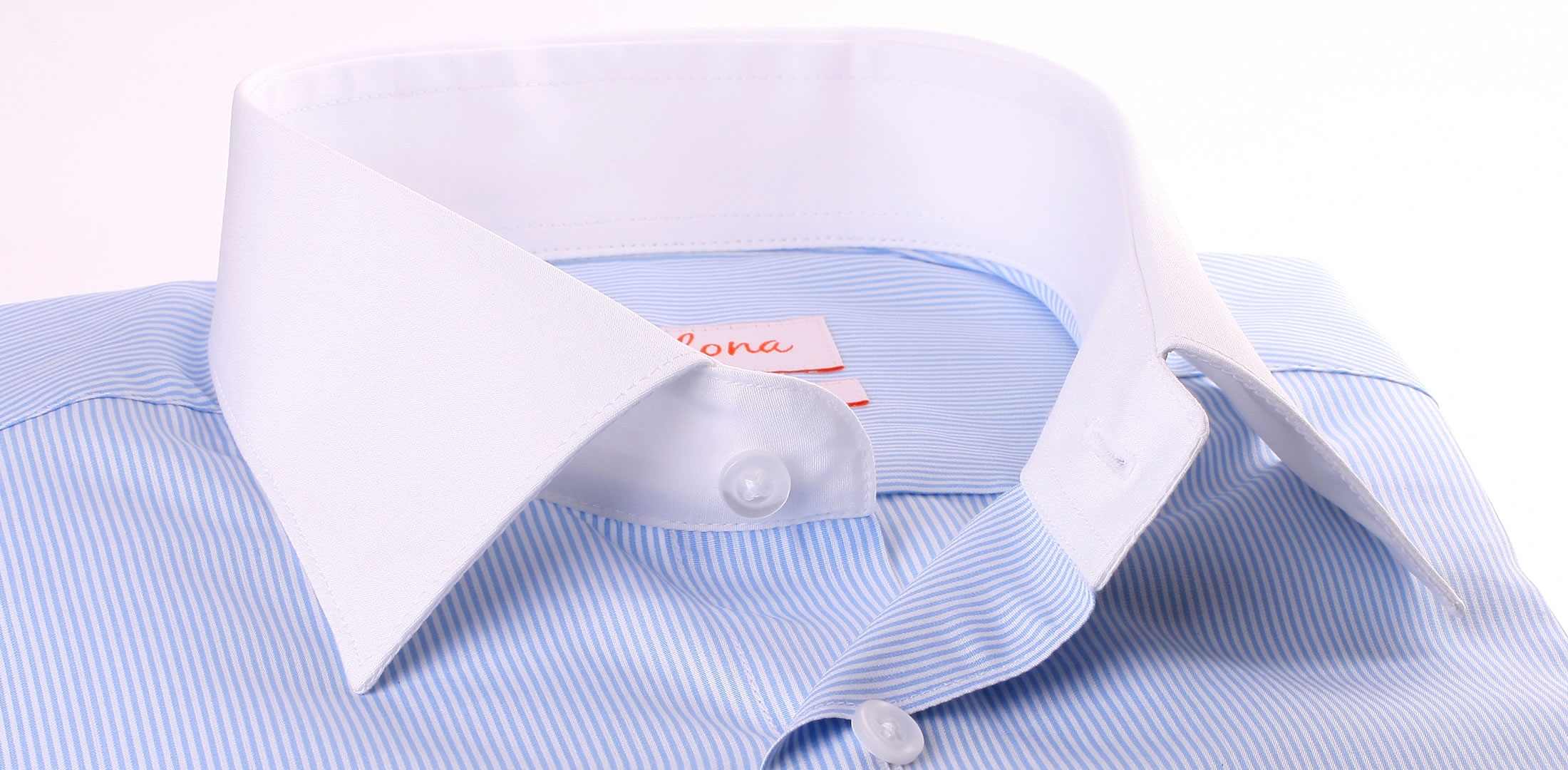 White and blue striped shirt with white collar and cuffs for Blue and white striped shirt with white collar