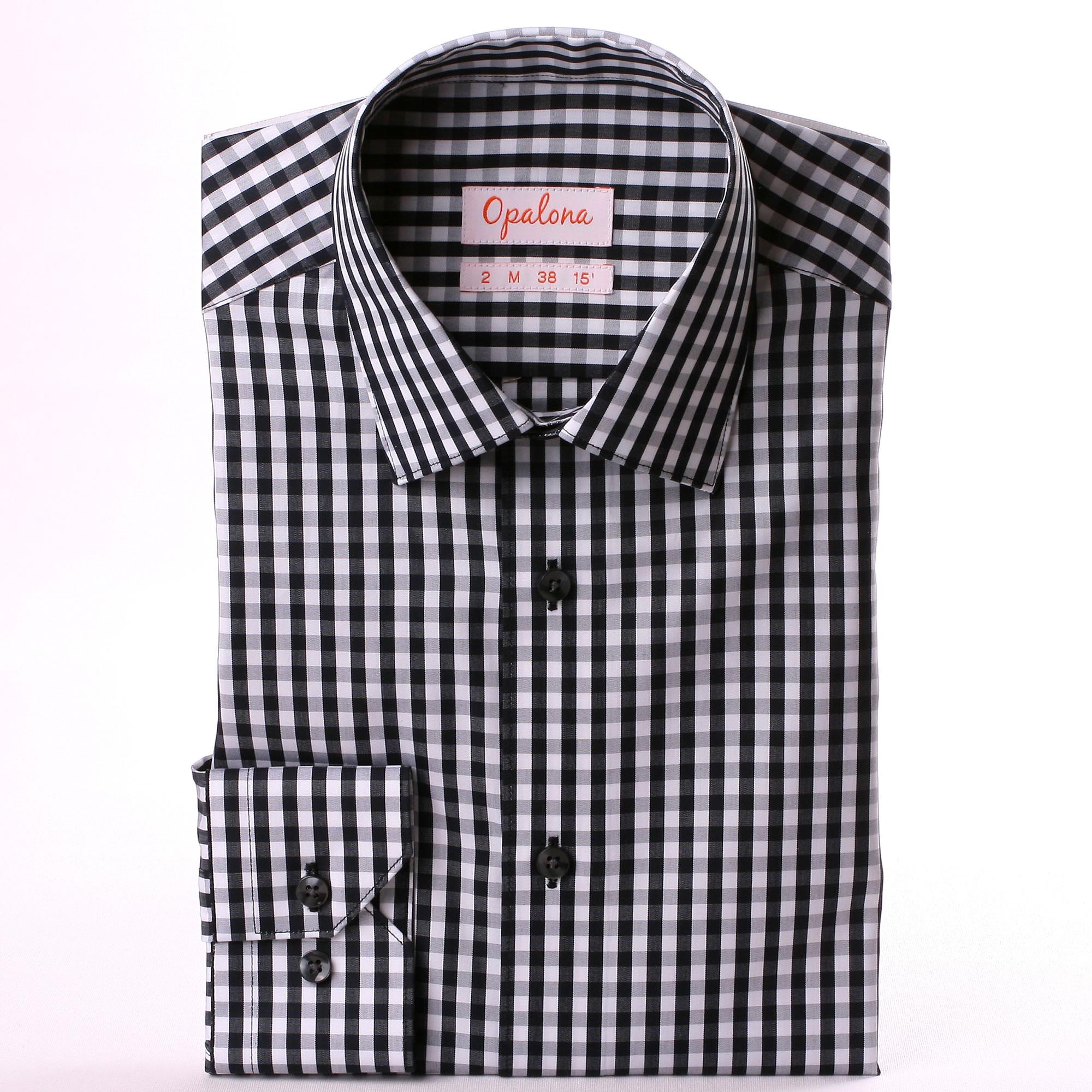 black and white checkered shirt