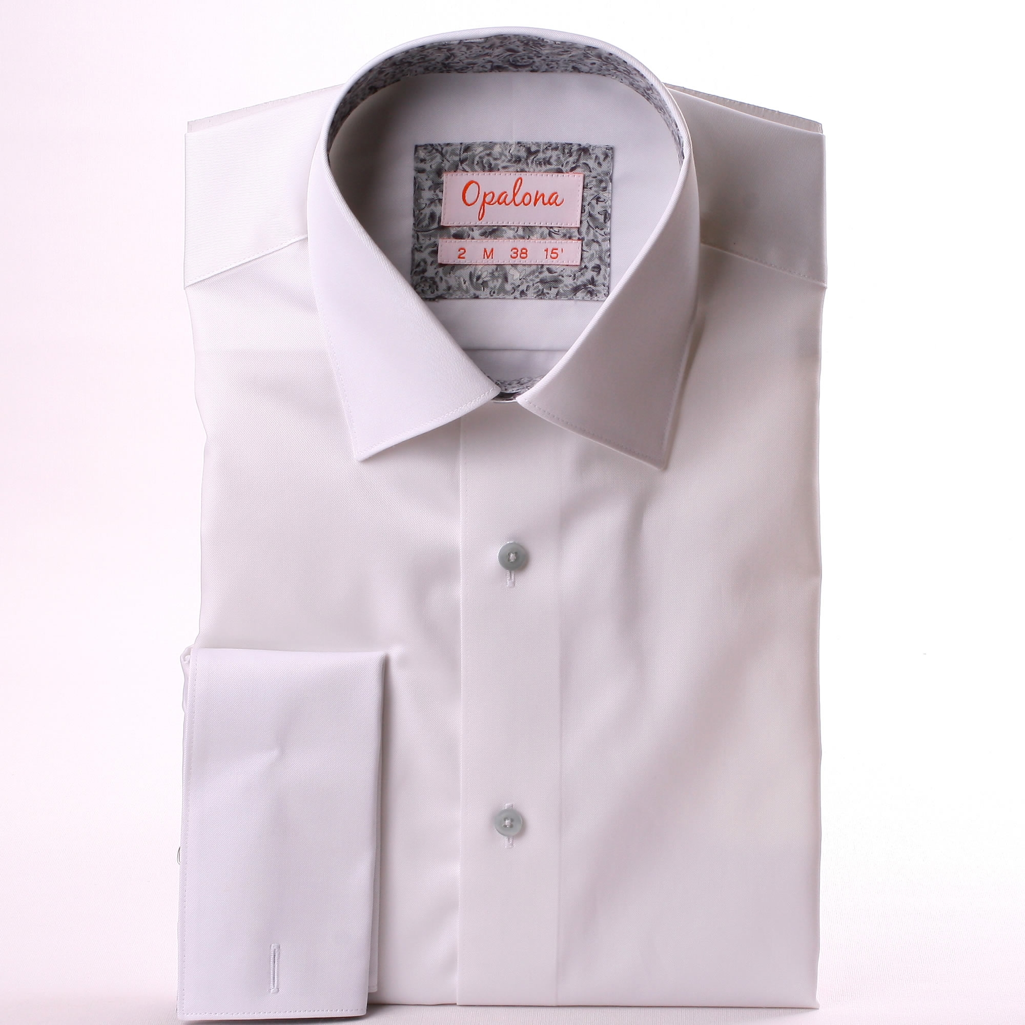 White French Cuff Shirt With Grey Pattern Collar And Cuffs