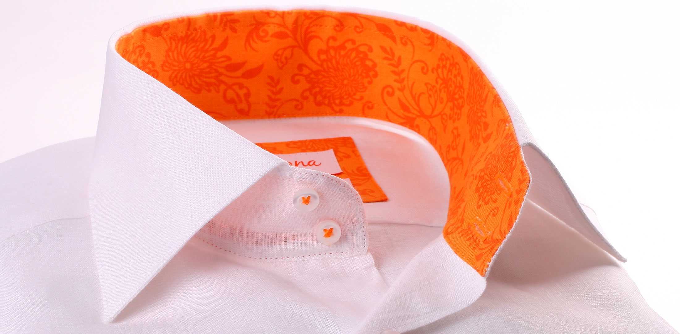 White linen shirt with orange collar and cuffs