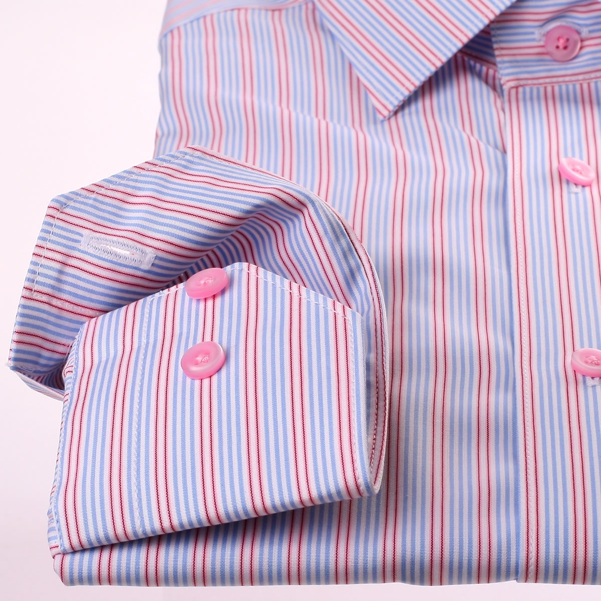 Blue White Pink And Red Stripe Shirt