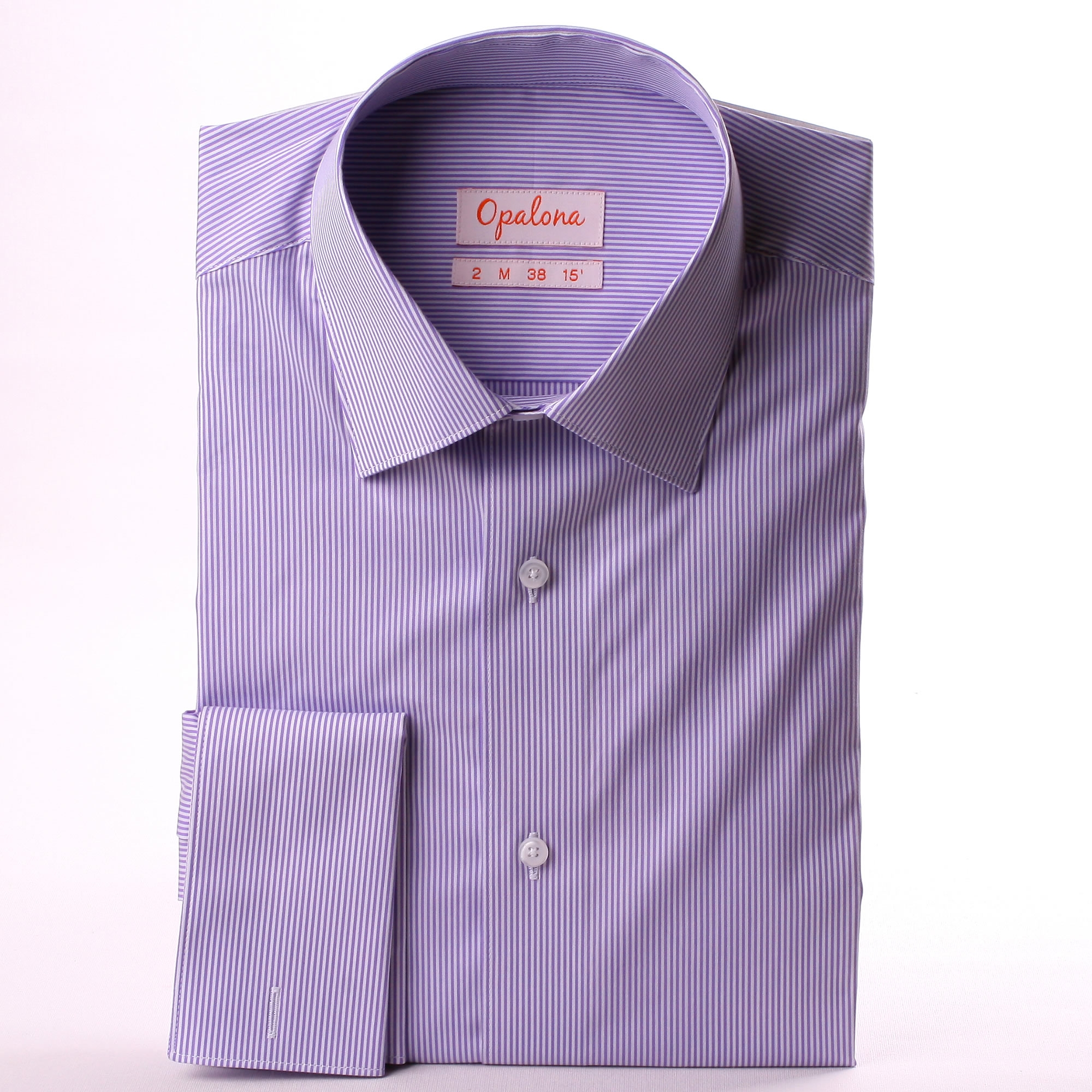Purple And White Stripe French Cuff Shirt