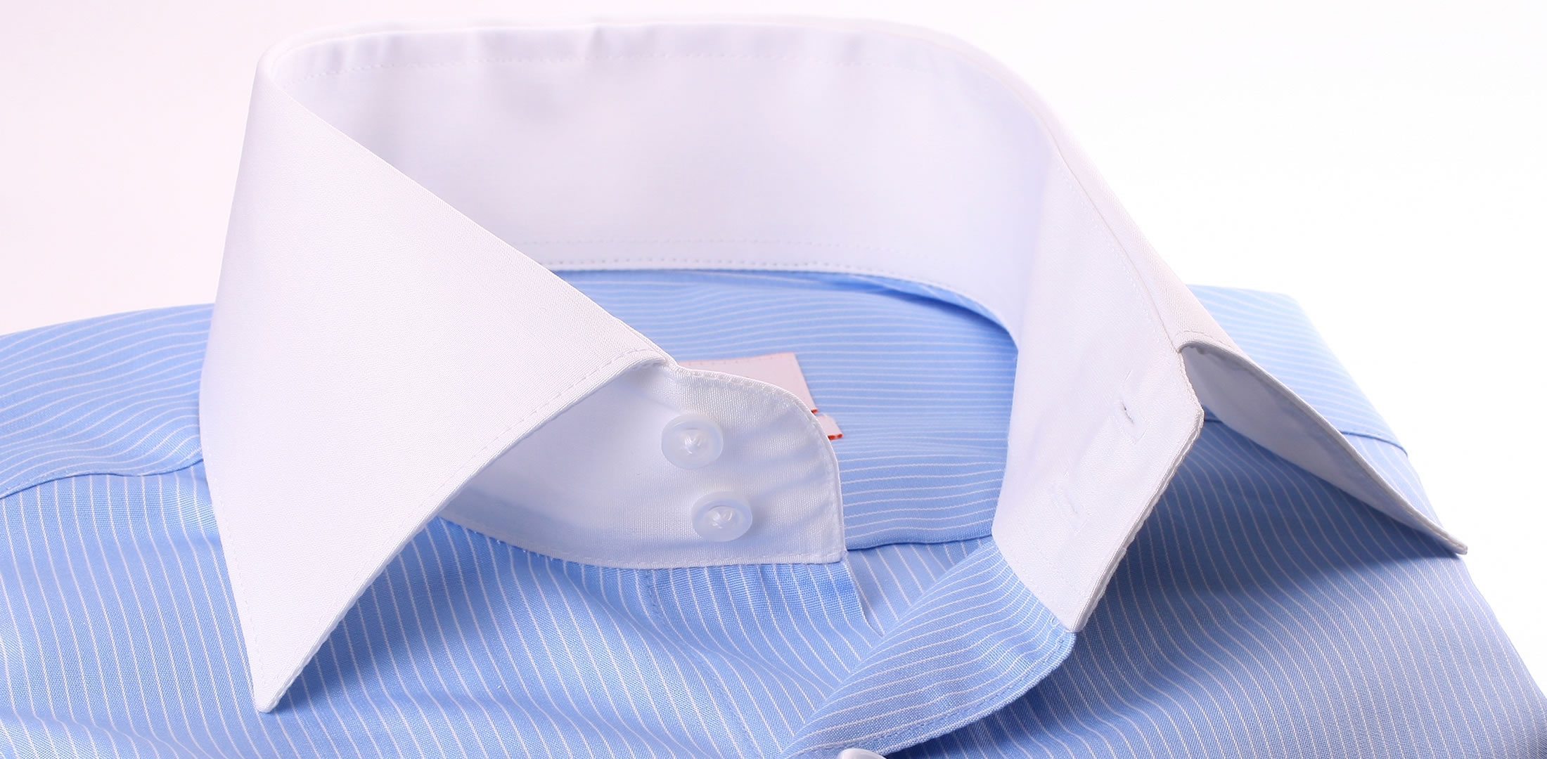 Blue shirt with thin white stripes white collar and cuffs for Blue and white striped shirt with white collar