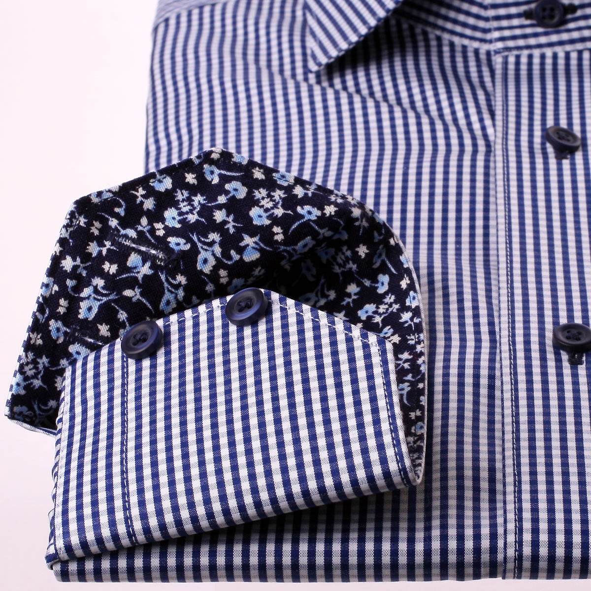Navy blue and white checkered shirt with blue foral collar for Navy blue checkered dress shirt