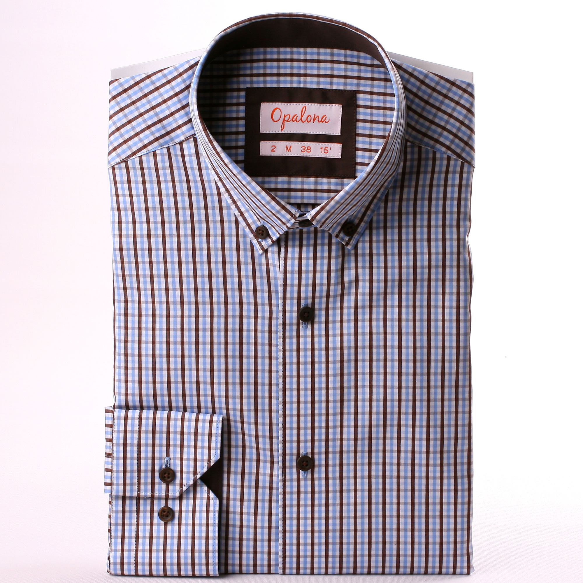 blue brown and white gingham shirt with brown collar and