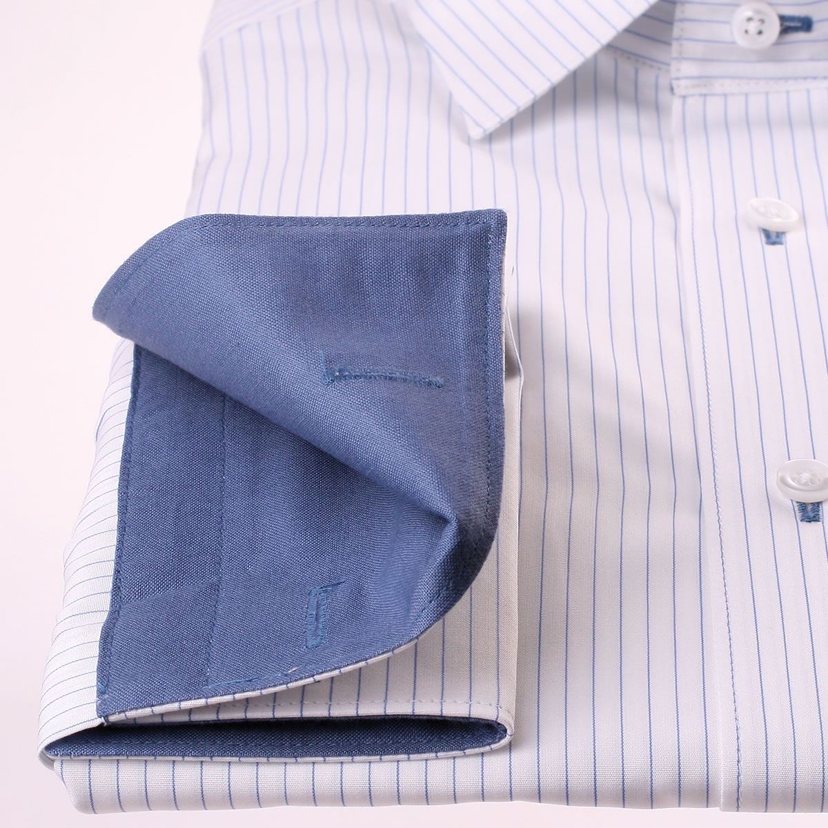 White With Thin Blue Stripes French Cuff Shirt Blue