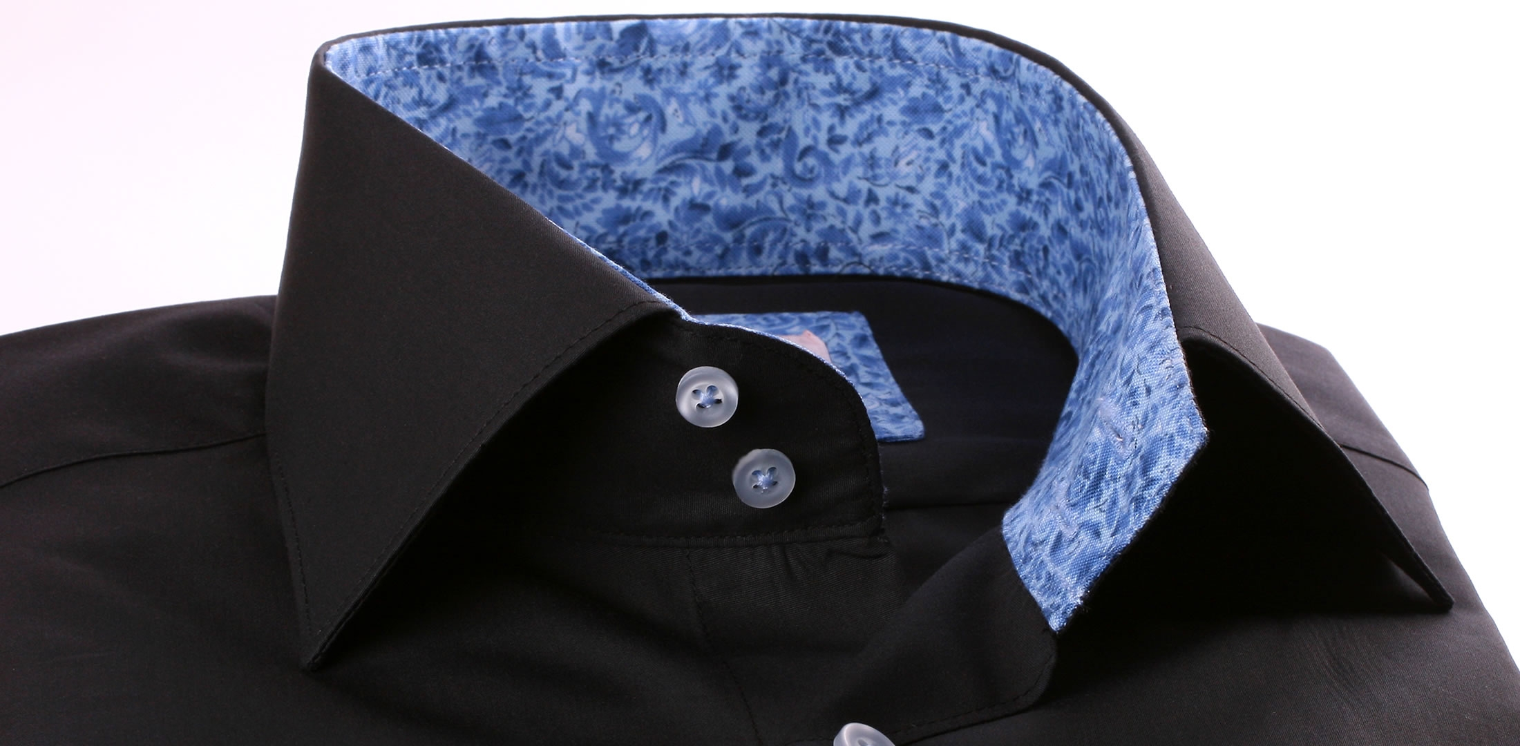 Black french cuff shirt with blue pattern collar and cuffs