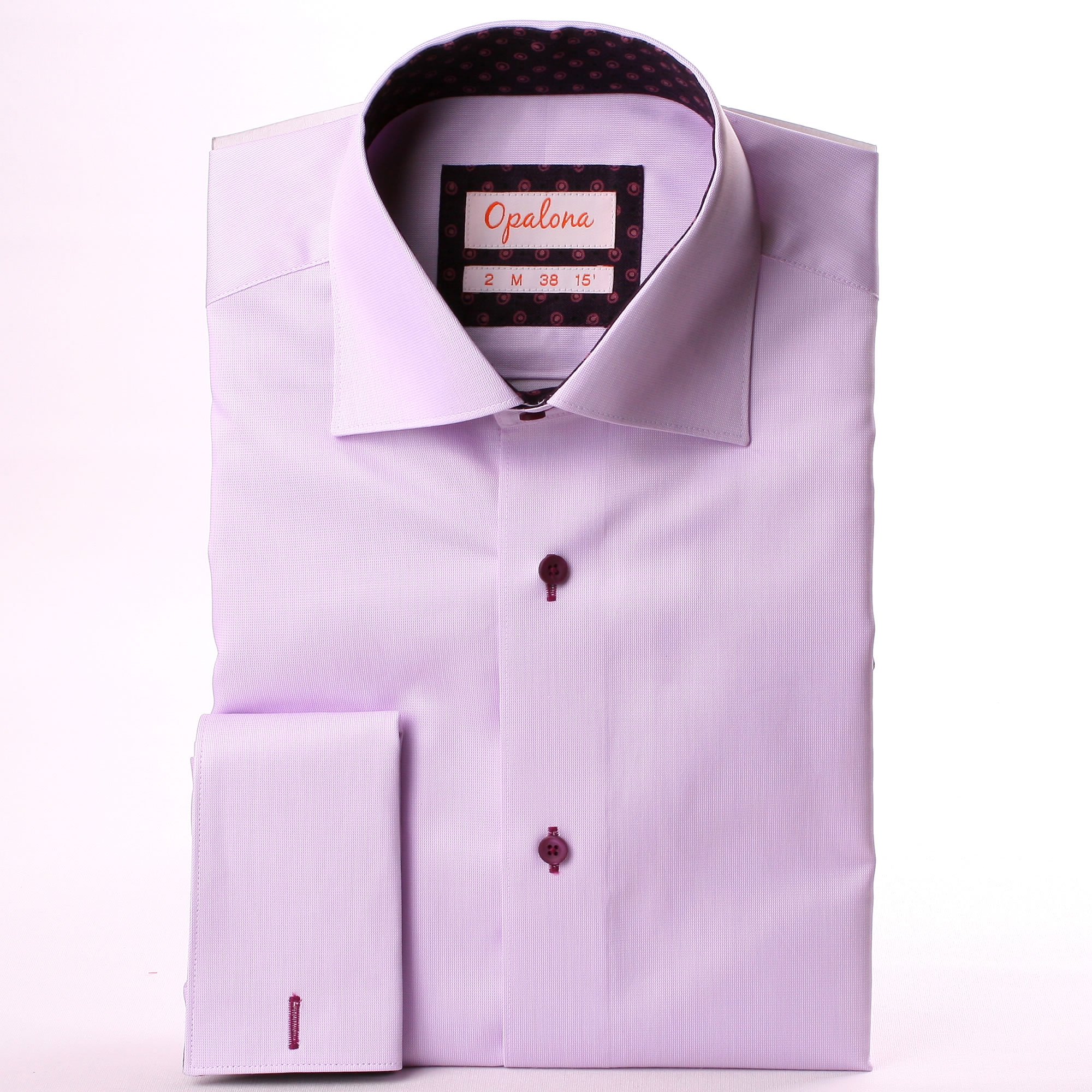 Lilac French Cuff Shirt With Purple And Lilac Pattern