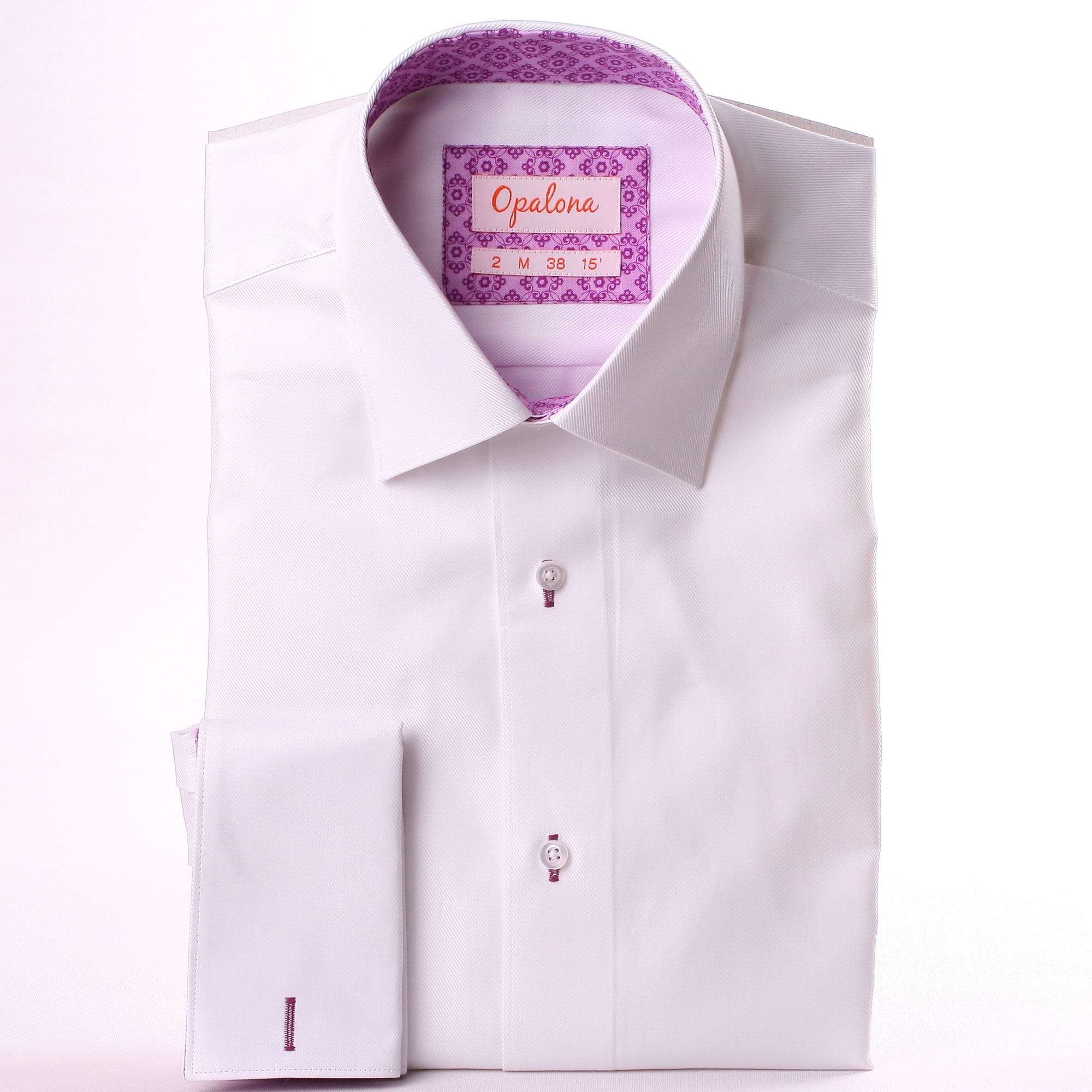 White French Cuff Shirt With Lilac Pattern Collar And Cuffs