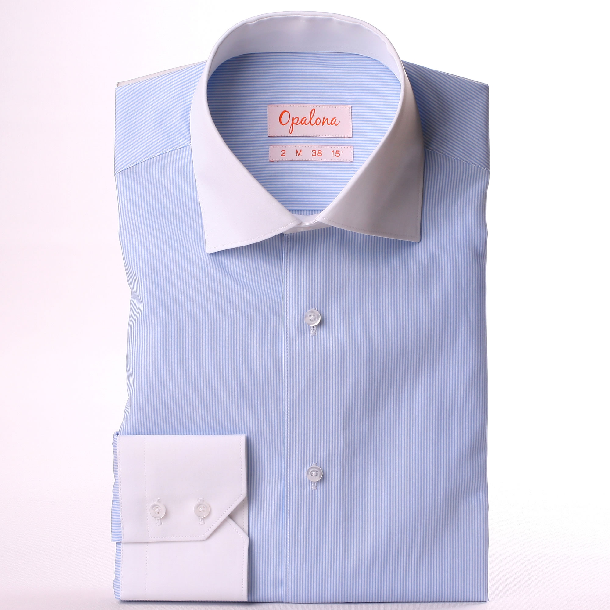 White and blue striped shirt white collar and cuffs for Blue and white striped shirt with white collar