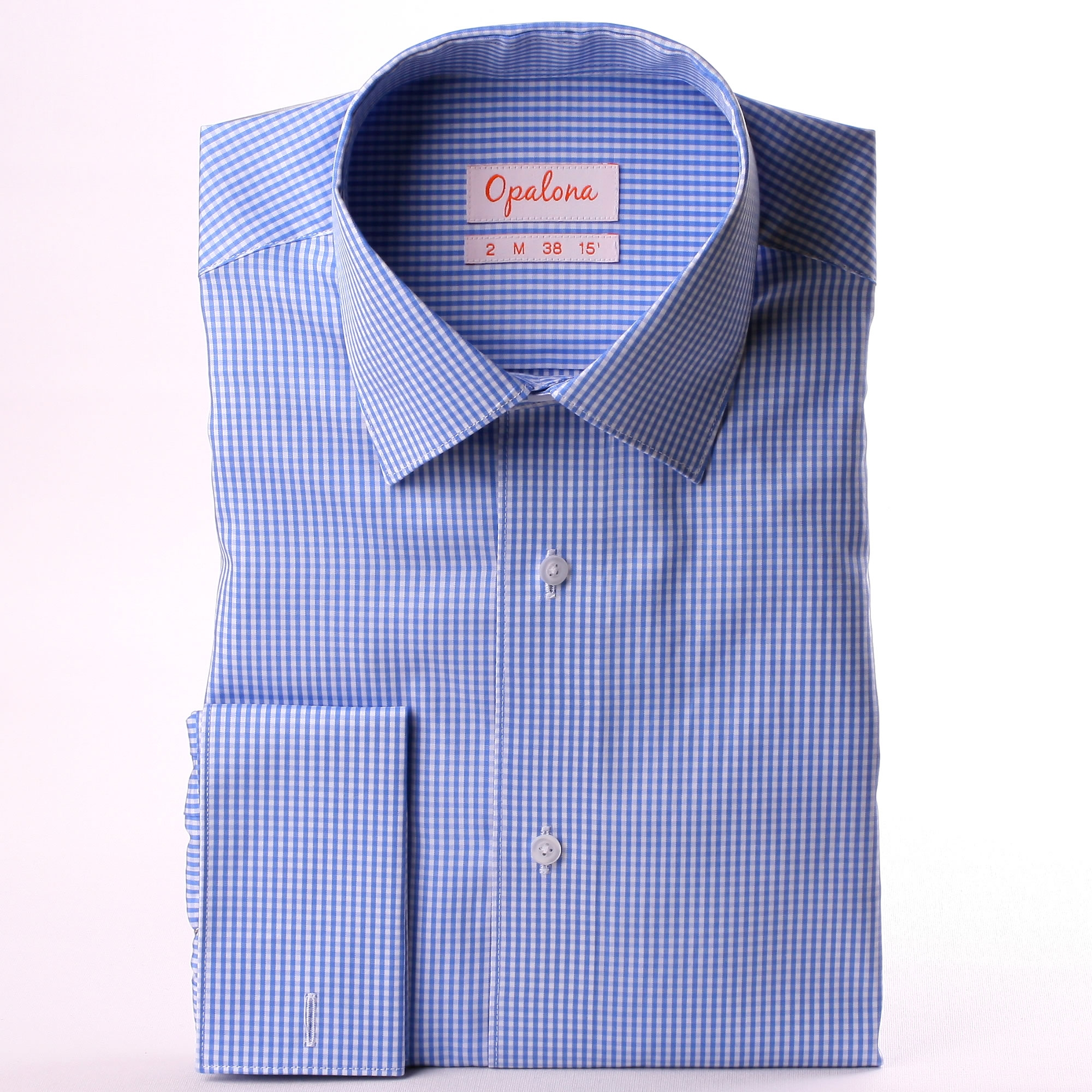 Blue and white gingham french cuff shirt for Gingham french cuff shirt