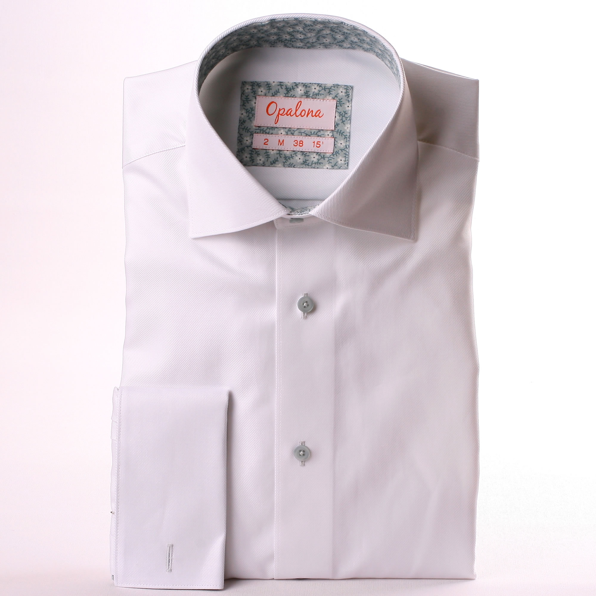 White French Cuff Shirt With Grey Floral Collar And Cuffs