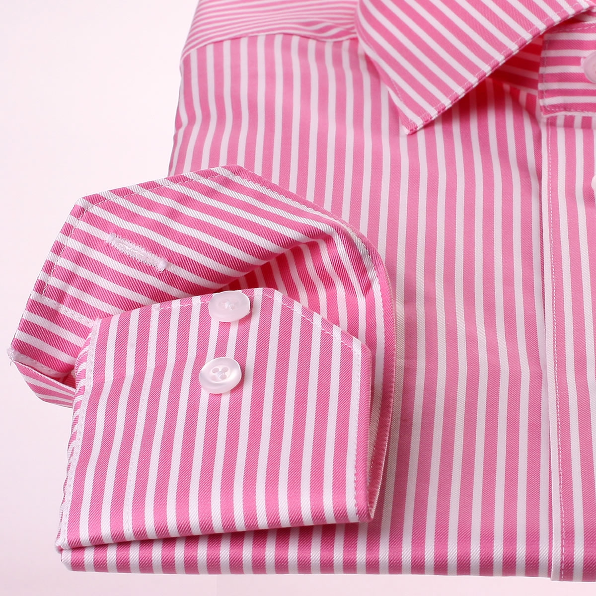 Deep Pink And White Striped Shirt