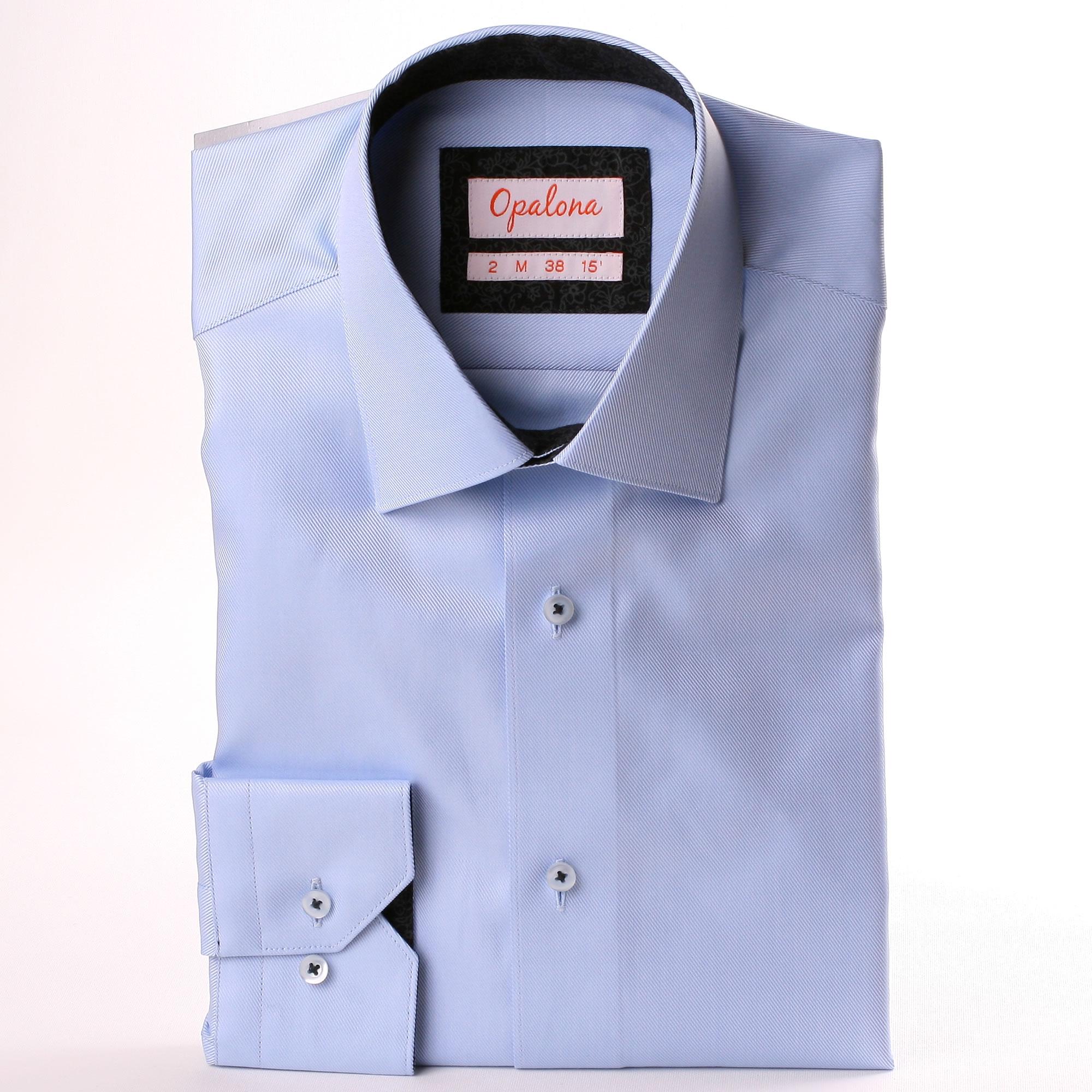 hellblaues hemd mit schwarzen und grauen blumenmuster kragen und manschetten. Black Bedroom Furniture Sets. Home Design Ideas