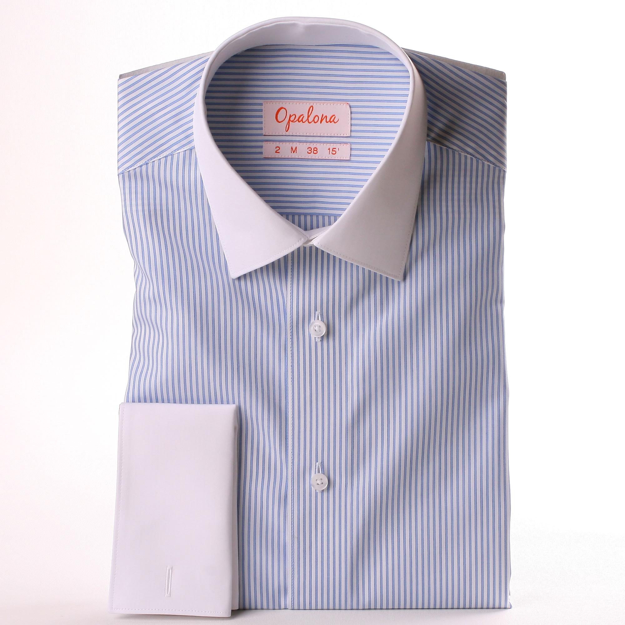 wei und blau gestreiften franz sisch manschette hemd mit wei em kragen und manschetten. Black Bedroom Furniture Sets. Home Design Ideas