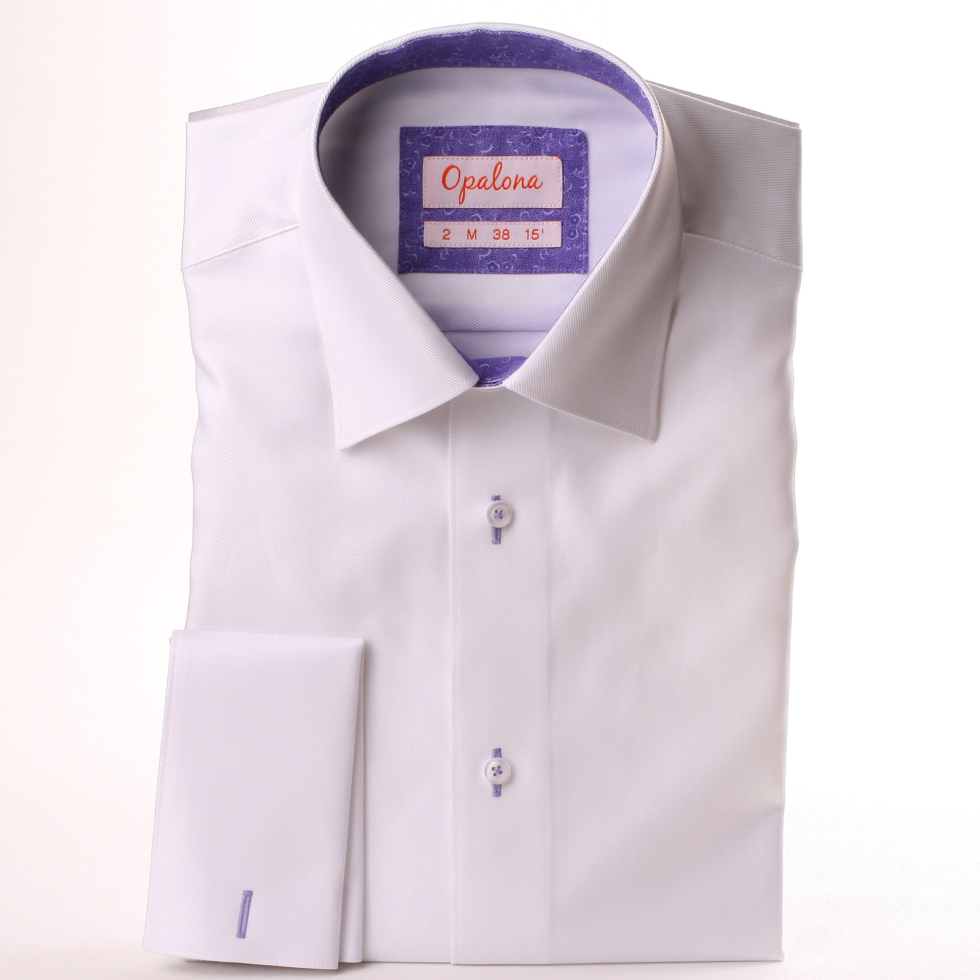 White French Cuff Shirt With A Purple Floral Collar